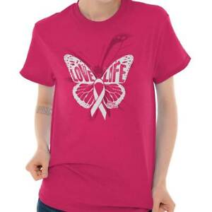 Pink Ribbon Fight Breast Cancer Awareness Womens Clothes Gift Ladies T Shirt