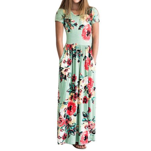 Kid Girls Long Maxi Dress Boho Short Sleeve Casual Floral Summer Party Sundress