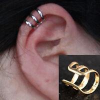 2pcs Women Men Unisex Punk New Cuff Clip Wrap Earrings No Piercing-Clip on Ear