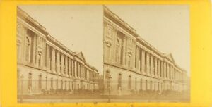 Francia-Parigi-i-Colonnes-Del-Louvre-Foto-Stereo-Vintage-Albumina-Ca-1870