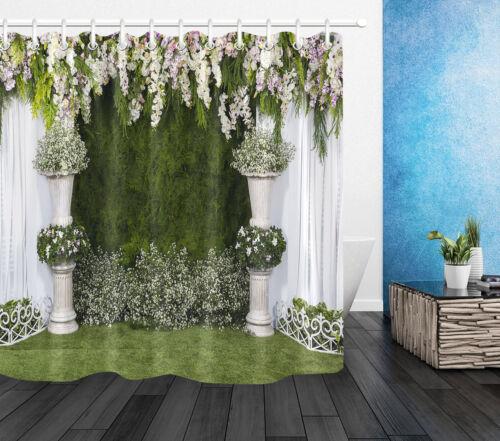 Waterproof Fabric Shower Curtain Set Beautiful Flowers Background Green Grass