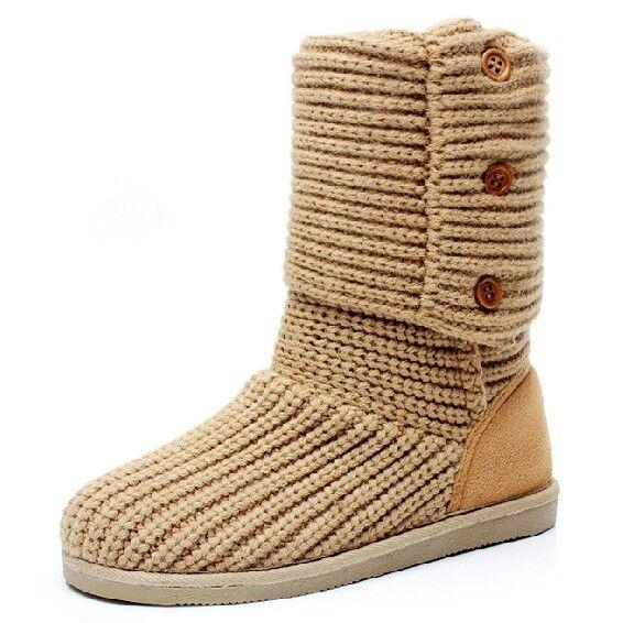 Fulinken Womens Winter Knit 3 Buttons Sweater Crochet Faux Suede Flat Boots