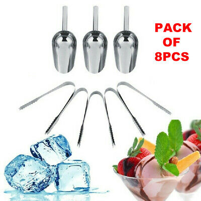 3pc Sweet Candy Buffet BBQ Ice Stainless Scoops Tongs Wedding Bar Party Cookware