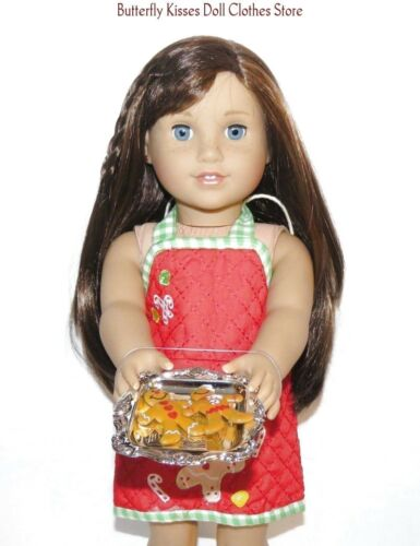 Christmas Gingerbread Apron /& Cookie Tray 18 in Doll Clothes Fits American Girl