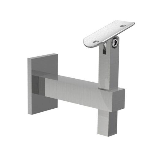 Edelstahl Handlaufhalter verstellbar Handlaufträger Wandhalter Quadratrohr 4145