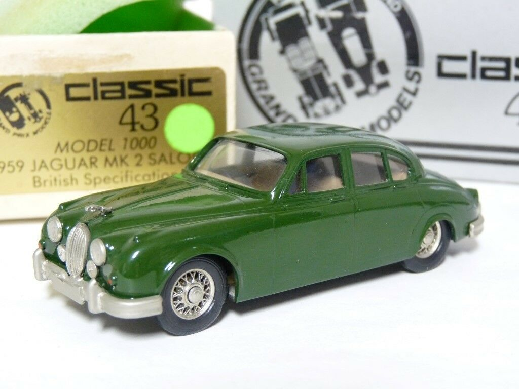 Grand Prix clásico 43 1000 1 43 1959 Jaguar MK II hecho a mano de metal blancoo modelo de coche