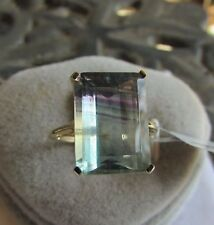 9.77 cts Bi Color Fluorite Solitaire Size 7 Ring 10k Yellow Gold