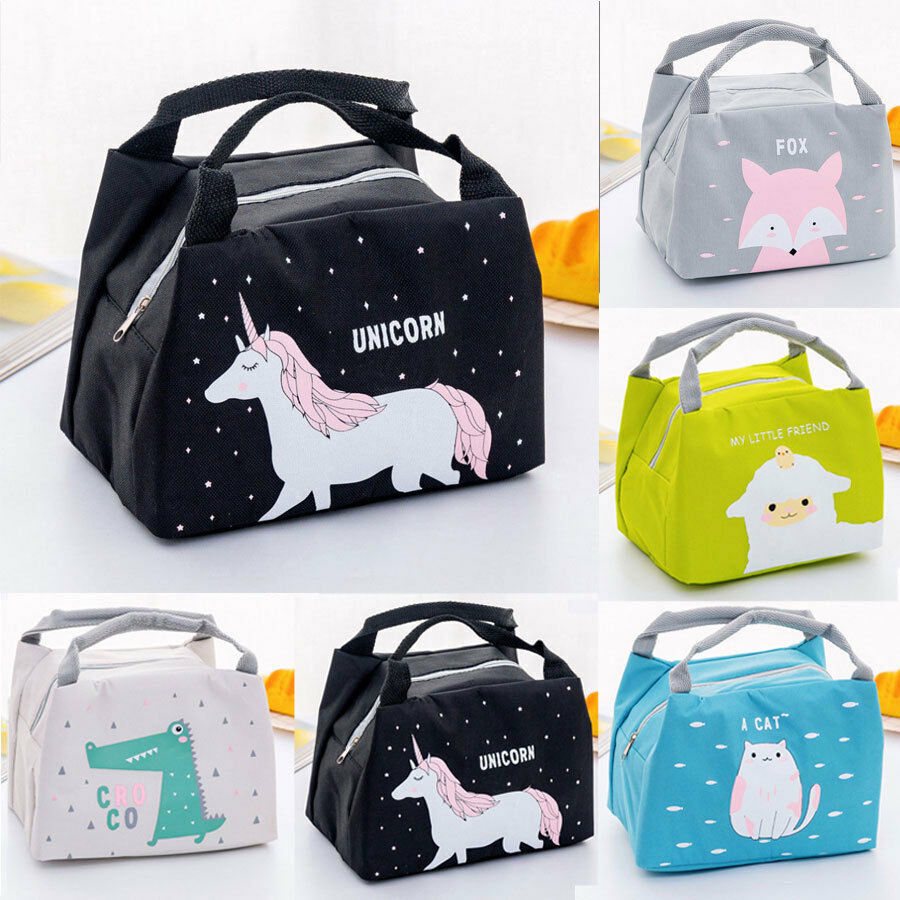 Women Kids Portable Insulated Cartoon Lunch Bag Thermal Cool