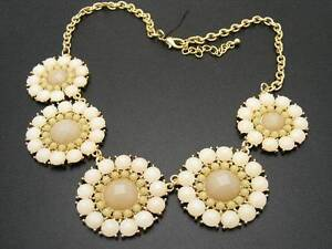 24 stephan co flower statement necklace off white ivory cabochons image is loading 24 stephan amp co flower statement necklace off mightylinksfo