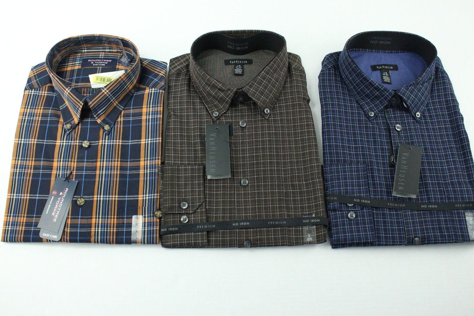 (3) Mens Dress Shirts Van Heusen Round Tree York Size Large 16 - 16.5 Brown bluee