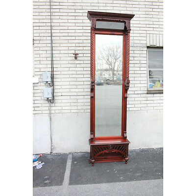 Great Tall 19th Century American Victorian Cherry Hallway Entryway Mirror