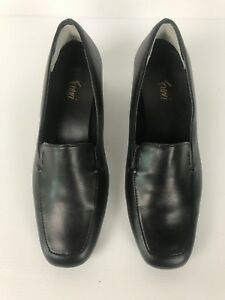 Fioni-Womens-Slip-on-Court-Shoes-Black-Leather-Size-61-2