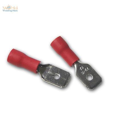100 Kabelschuhe - Flachstecker rot 6,3 x 0,8mm für 0,5-1,5mm² Kabelschuh Stecker