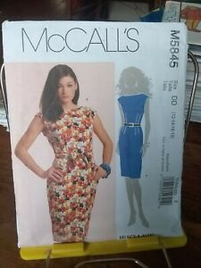 Oop-Mccalls-5845-misses-lined-dress-belt-fitted-sz-12-18-NEW