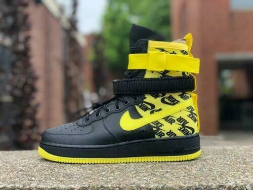 Nike Air Air Air Force 1 High SF AF1 Special Field (Men 9) Black Yellow Logos AR1955-001 47c77c