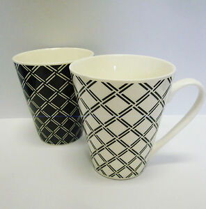 2er set kaffeetasse tasse kaffeebecher porzellan schwarz wei ebay. Black Bedroom Furniture Sets. Home Design Ideas