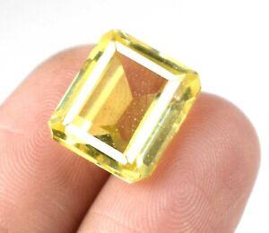 Emerald Cut 10.40 Ct Yellow Sapphire Eye Clean Gemstone Natural Certified A25632