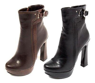 Mujer Damas Tacón Alto Botas al Tobillo Correa Hebilla Chelsea Fiesta Informal Zapatos Talla