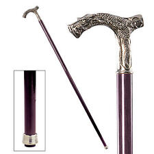 Italian Pewter Gothic Dragon Handle Polished Hardwood Cane Walking Stick