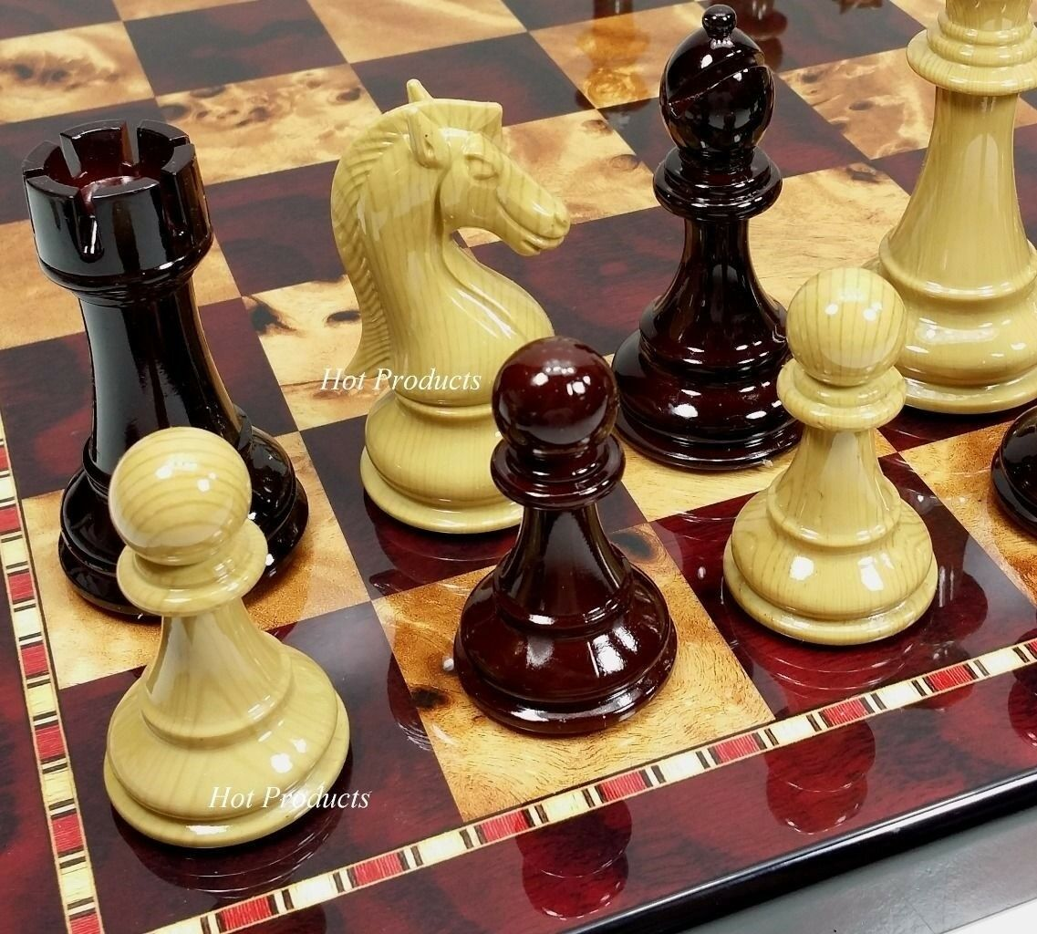 LARGE 4 1 4  KING STAUNTON HIGH GLOSS CHESS SET W  18  CHERRY COLOR BOARD