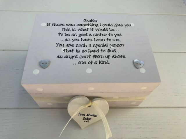 Shabby Personalised Chic Gift Special Sister Trinket Keepsake Box Birthday