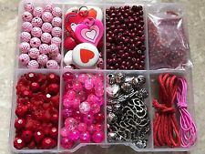 PASSION PINK JEWELLERY MAKING KIT GLASS,FIMO HEARTS,WOOD,CHARMS,MILLIFIORI NEW