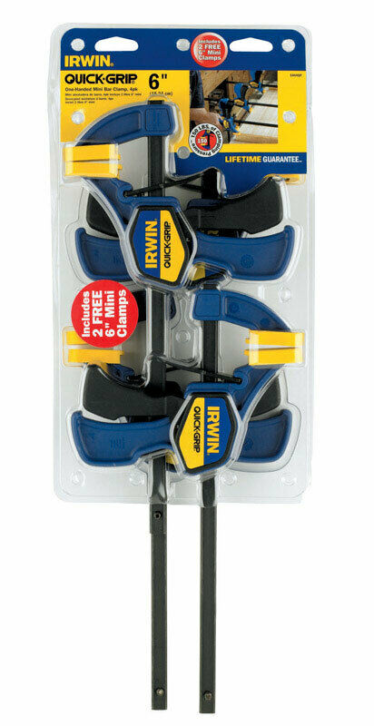 One-Handed 6-Inch Mini Bar 1964758 Irwin Quick-Grip Clamps 4-Pack