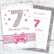 7th birthday party invitations pink sparkly design and photo
