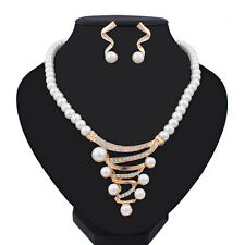 Fashion Women Jewelry Sets Wedding Bridal Pearl Crystal Necklace Earrings Set