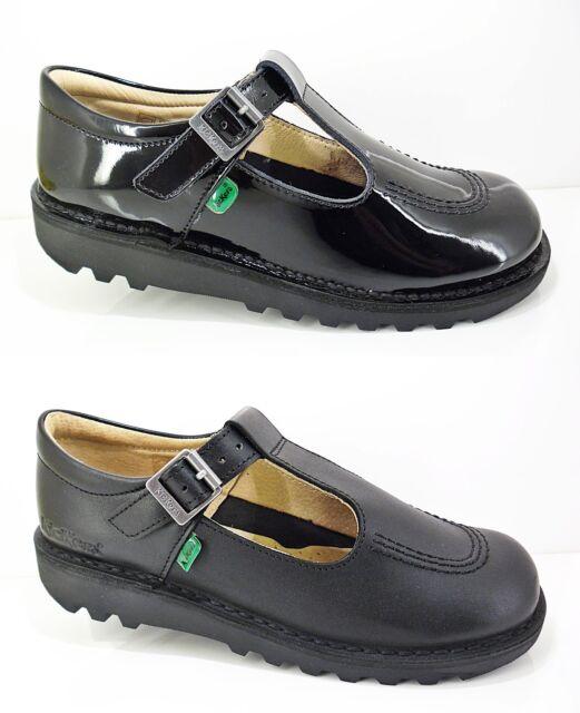 Kids Kickers Kick Lo Core Black Leather School Shoes Shu Size