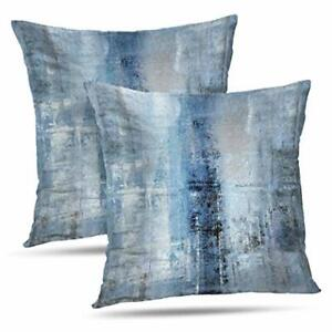 Alricc Blue And Grey Abstract Art Artwork Pillow Cover