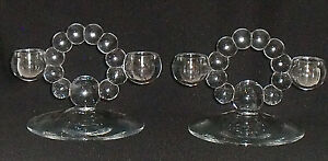 Imperial-Glass-CANDLEWICK-Double-Candle-Holders-Set-of-TWO-Vtg-Taper-4-25-034