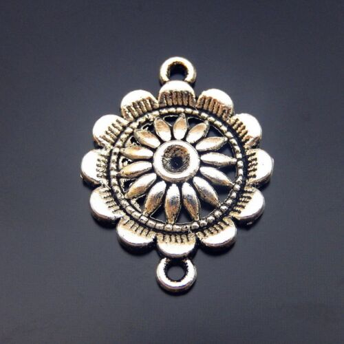 Multi-Color Alloy Round Lace Sunflower Pendant Charms Connector DIY  Jewelry