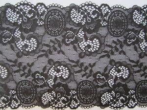 1 METER Spitze ELEGANTE Schwarz SPITZE elastisch Borte Lace 21,2cm breit MODE