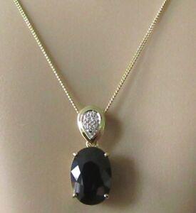 Collar de Oro de 9ct - 9ct Oro Amarillo Azul Piedra Preciosa & Diamante Colgante & Cadena