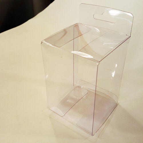 "10 Protective Film 4/""x2.75/""x2.75/"" Clear Tuck Top Plastic PVC Box Hanging Tab"