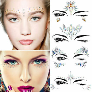 Image is loading Bling-Face-Art-Stickers-Gems-Crystal-Jewels-Halloween-
