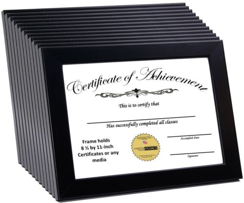 CreativePF 8.5x11bk Black Document Frame Displays 8.5 by 11inch Certificate,