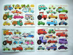 Zauberhafte Sticker Postkarte Geburtstag Fahrzeuge Autos Traktor