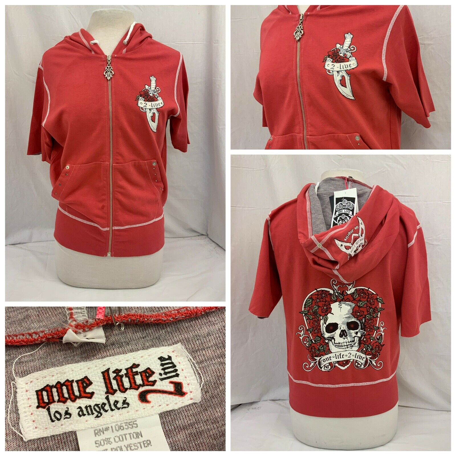 One Life 2 Live Hoodie Sweatshirt XL rot Full Zip Made In USA NWT YGI N9-251CG
