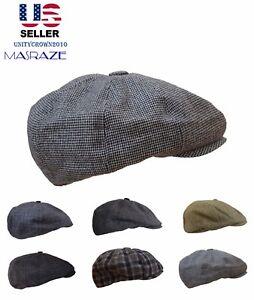 Mens-Wool-Cabbie-Newsboy-Hat-Gatsby-Cap-Winter-Driving-Golf-8-Panel-Gift-Women