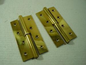 1-Paar-Messing-Aufsatzbaender-Tuerband-links-rechts-Bandlaenge-160-mm