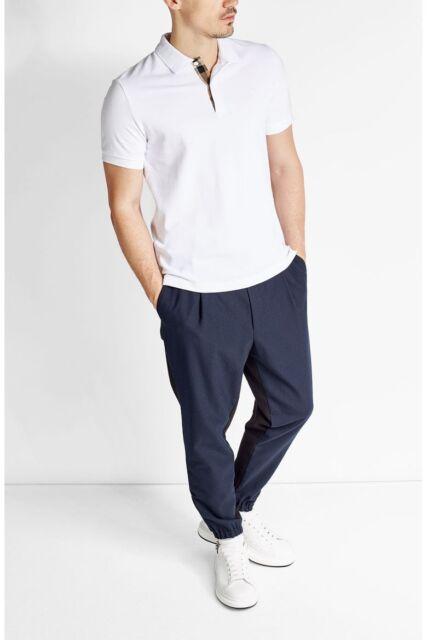 Burberry Mens Check Placket Cotton Pique Polo Shirt S White   eBay 7611519fd152