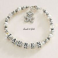 Sterling Silver Personalised Bracelet With Any Name For Girls. High Quality