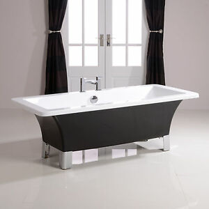 1700mm Black Freestanding Bath Tub Modern Roll Top Bathroom Square Chrome Fee