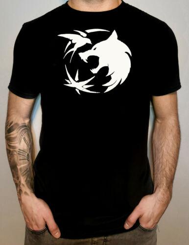 Witcher T shirt Geralt Unisex Gwent Wolf Head Star Symbol