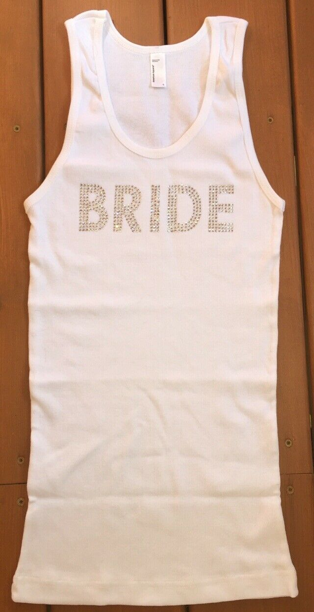 White Bride Tank Top with Rinestones American Apparel Size Large