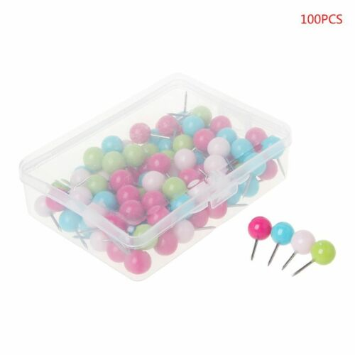 100 Pcs Colorful Assorted Push Pins Drawing Cork Board Nails Photo Wall Office