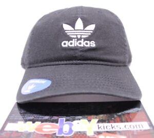 2e3600113 Details about Adidas Originals Relaxed Black White 3 Stripes Logo Cap Hat  Strapback Brand New