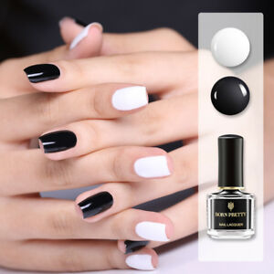 Details about BORN PRETTY 6ml White Black Nail Polish Peel Off Nail Art  Varnish Tips